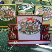 Housemouse Stamped stepper Christmas card made using Three wise mice Housemouse rubber stamp, Cuttlebug swiss dots embossing folder and Nellie Snellen muli-frame ovals dies - craftybabscreativecrafts.co.uk