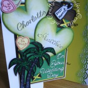 Jamaican themed wedding card made using Britannia dies wedding day sentiment and alphabet dies, Memory Box Grand heart die, Cuttlebug disney cut and emboss At The Beach set, Love Always set and Bon Voyage set. - craftybabscreativecrafts.co.uk