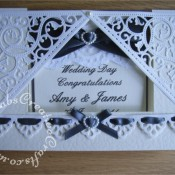 Lace Front Stepper card made using Spell binders gold elements corner dies an Spellbinder Moroccan accents border die. - craftybabscreativecrafts.co.uk