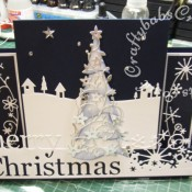 Scenic Stepper Christmas card made using Memory Box Grand merry Christmas die, Memory Box country landscape die, Memory Box snowy breeze border die, Memory Box flowering Christmas tree die, Memory Box Frostyville border die and Dee's Distinctively Christmas tree stacker die - craftybabscreativecrafts.co.uk