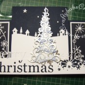 Scenic Stepper Christmas card made using Memory Box Grand merry Christmas die, Memory Box country landscape die, Memory Box snowy breeze border die, Memory Box Frostyville border die, Dee's Distinctively Christmas tree overlay #1 die and Dee's Distinctively Christmas tree stacker die - craftybabscreativecrafts.co.uk