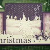 Scenic Stepper Christmas card made using Memory Box Grand merry Christmas die, Memory Box country landscape die, Memory Box Frostyville border die, Dee's distinctively Snow covered Tree (small) die, and cuttlebug Winter borders embossing folder - craftybabscreativecrafts.co.uk