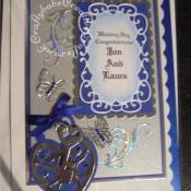 Locket & Keys Wedding Card made using Marianne frame swirl flourish die set and Sizzix Bigz Heart Locket die. Butterflies are peel offs adhered to acetate. - craftybabscreativecrafts.co.uk