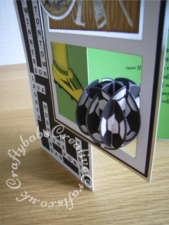 A4 Men's DIY, Crossword & Football themed 40th Birthday card made using Jennigami CD rom, Crafter's companion wood grain embossing folder, Nesting circles dies, My Favourite things tool charm die-namics dies, Sizzix Originals Shadow Box numbers dies - craftybabscreativecrafts.co.uk