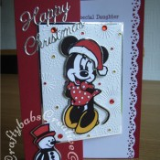 Minnie Mouse Christmas card made using Cuttlebug Disney Minnie Mouse Cut & Emboss die, Cuttlebug Disney Santa's List Cut & Emboss die, Britannia dies Happy Christmas sentiment die and Dovecraft Me To You Winter wonderland embossing folder - craftybabscreativecrafts.co.uk