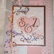 Monogram heart floral spray wedding card made using Cuttlebug divine swirl embossing folder, Spellbinders Julius Alphabet dies, Flourishes, flowers and swirls from Marianne frame swirl flourish and circle frame die sets, - craftybabscreativecrafts.co.uk