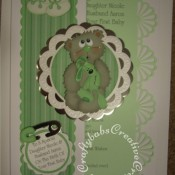 A4 New baby card, Marianne Scallop Circle frame die, Quickutz Cookie cutters nesting scalloped circle dies, Zip e mate thin nappy pin die, BossKut baby bootie die, Die Monde Bear and Bunny die, Xcut scalloped border punch. - craftybabscreativecrafts.co.uk