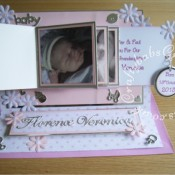 New Baby Girl Waterfall Easel card made using various dies including; Cuttlebug Baby #2 3x3 die, X Cut Petal posy dies, Cheery Lynn delicate lace script alphabet dies and Quickutz cookie cutter nesting circle dies - craftybabscreativecrafts.co.uk