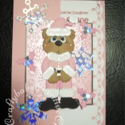 Santa Bear Christmas card made using Craftycat custom made wooden Scruffy Bear die and Santa outfit die, Quickutz 4x4 snowflake die, Sizzix originals holly and berries die and Cuttlebug snowflake embossing folder - craftybabscreativecrafts.co.uk