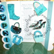 Large Pop Up Shoes & Bags themed 21st Birthday card made using Sizzix Originals Shadow Box alphabet dies, circle dies and custom made wooden handbag, shoe and wellingtons dies. Card Blank from Kanban. - craftybabscreativecrafts.co.uk