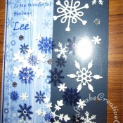 Printed Acetate overlay Christmas card made using Xcut snowflake punch and Sizzix sizzlits snowflake dies - craftybabscreativecrafts.co.uk