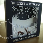 3D Scenic Panorama Christmas card made using Memory Box frostyville frame die,Memory box Golf club landscape die, Memory Box Country Landscape die, Impression Obsession small deer die, Tattered Lace Panorama base and essentials square dies, and Tattered Lace Christmas and relative sentiment dies - craftybabscreativecrafts.co.uk