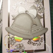 Silver Wedding Bells wedding card made using Marianne circle frame die set for flowers and flourishes, Sizzix originals large bell die and Memory Box Alphabet soup upper case and lower case dies. - craftybabscreativecrafts.co.uk