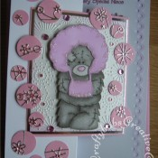 Me To You Bear Tatty Teddy Christmas card made using Die Monde custom made wooden bear die, Memory box Snowy breeze border die, Woodware circle punches and Dovecraft Me To You Winter wonderland embossing folder - craftybabscreativecrafts.co.uk