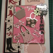 A4 Fashion themed leaving job card made using a variety of dies including, Sizzix originals handbags die, Shadow Box Alphabet dies for shrink plastic letters (linked with jump rings to form dangling charm), Quickutz 2x2 shoes dies and pop up flowers dies, Cuttlebug sentiments die from Friends forever cut and emboss set. - craftybabscreativecrafts.co.uk