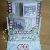 A4 Double Waterfall Easel House-Mouse card made using Joanna Sheen House-Mouse CD Roms and various dies including; Sizzix Originals Shadow Box Numbers dies, Quickutz nesting circles dies, Die-namics MFT Dainty Bows die, Marianne Creatables LR0223 happy birthday dies and Woodware Crafty Edger ribbon thread punch. - craftybabscreativecrafts.co.uk