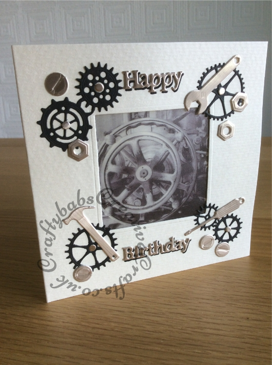 Vellum Window Men's Card made using aperture card, printed vellum and various dies including MFT Die-namics Tool charms dies, Memory Box Gear works border die, Tattered Lace essentials nesting hexagon die (smallest one with hole punched in for 'Nuts') and Tattered lace Sentiments dies. - craftybabscreativecrafts.co.uk