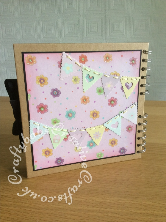 Hen Party Keepsake Album made using Blank book from Paperchase, patterned papers and the following dies; Nellie Snellen Cutting Embossing Stencil Multi Frame 9 Dies Wavy Heart MFD072, Nellies Multi Frame Die MFD022 Heart, Tattered Lace Kiss die set, Tattered Lace Pocket wrap die set. Sentiments printed and rectangular mats and layers cut using guillotine. Bunting and front wooden embellishment shop bought with matching papers. - craftybabscreativecrafts.co.uk