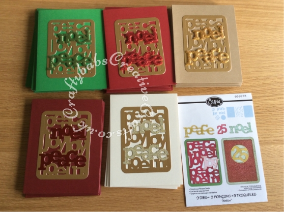 Batch Making Christmas Cards, cards made using Sizzix Thinlits 9 Die Set - Christmas Phrase Cards 659973 - craftybabscreativecrafts.co.uk