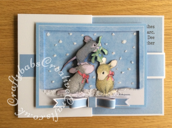 Double Z Fold Housemouse Mistletoe Kiss Decoupaged Christmas Card made using Joanna Sheen Housemouse CD Rom. Bow made using Memory box Gross Grain Ribbons dies and Britannia sentiment dies. Decoupage assembled with foam pads and highlighted with white glitter and Glossy accents - craftybabscreativecrafts.co.uk