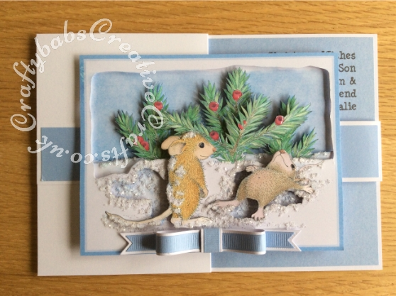 Double Z Fold Housemouse Snow Angels Decoupaged Christmas Card made using Joanna Sheen Housemouse CD Rom. Bow made using Memory box Gross Grain Ribbons dies and Britannia sentiment dies. Decoupage assembled with foam pads and highlighted with white glitter and Glossy accents - craftybabscreativecrafts.co.uk