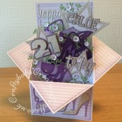 """Large Pop Up Shoes & Bags themed 21st Birthday card made from 8""""x8"""" card blank. Numerous dies used including; Sizzix Framelits Stars/ Primitive Die Set, Sizzix sizzlits 'Girls Are Weird' alphabet dies, Sizzix originals Shadow Box numbers, Sizzix sizzlits small purses and shoes set and shoes set, Ellison window cuts handbag, Cheery Lynn Baby's breath flower set, MCS sprig dies (from The Works) and Sentiment die cut using 660223 Sizzix Thinlits Die Set 13PK - Celebration Words Script by Tim Holtz - craftybabscreativecrafts.co.uk"""