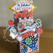 Las Vegas Themed Pop Up 40th Birthday card made using numerous dies including; Sizzix originals Shadow Box Alphabet, punctation and number dies, Sizzix sizzlits Marie Cole Design Game Set for poker chips, Sizzix - 1950s Collection - Thinlits Die - Lucky Bowling, Memory Box Alphabet Soup Capitals die (for Las Vegas), Tattered Lace Alphabet Bunting Die Set ACD197 (for welcome mounted onto circles cut with small circle die) Britannia dies alphabet (for to fabulous), Die-Versions MARKER MICRO Font Die (for Nevada), Sizzix - 1950s Collection - Thinlits Die - Rock 'n Roll Sundae set for dice and cherries and nesting diamond dies. Playing cards are from a mini set of cards I had in Christmas cracker and finally, the aeroplane was cut using the Xcut Build a scene All aboard round the world dies - craftybabscreativecrafts.co.uk