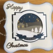 "Large 8"" x 8"" Scenic Christmas Card made using a variety of dies including, the free dies from Simply Cards & Papercraft 168, Memory Box country landscape die, Britannia sentiment dies, Nesting circle dies, Tattered Lace Alphabet Bunting Die Set ACD197, Quickutz/Life style cookie cutter banner die and Tonic Studios - Layering Dies - Deco Geometric - craftybabscreativecrafts.co.uk"