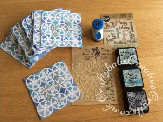Batch making Christmas cards made using That Special Touch snowflake mask, Various shades of blue distress inks, Xcut snow flake punch, Silver stars table confetti and sentiments cut using Sizzix Thinlits Die Set 16PK - Holiday Words 2: Script by Tim Holtz 660977 - craftybabscreativecrafts.co.uk