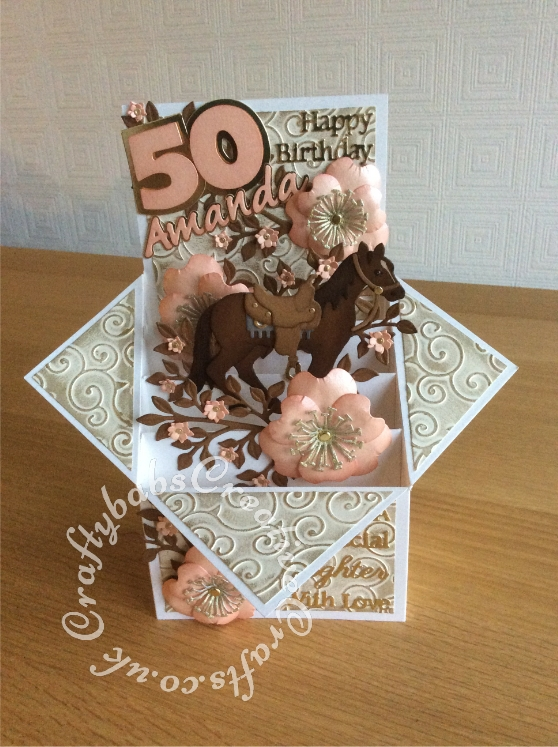 Large Pop Up Box Horse Themed 50th Birthay Card Made Using Various Dies Including Quickutz