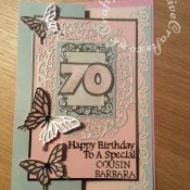 70th Birthday Card made using a variety of dies including; Sizzix Thinlits Intricate Butterfly dies, Sizzix originals Shadow Box Numbers dies, Tattered lace sentiments 2014 dies, Tattered Lace Alphabet Bunting dies for name & relation and Tonic studios Home Together die set- craftybabscreativecrafts.co.uk