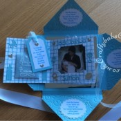 Baby Boy Birth keepsake made using a variety of dies including Quickutz nesting Tag dies, Ellison thick cutz envelope die, Cuttlebug baby elements die, Marianne baby feet dies, Memory Box pram die, nesting plain & scalloped oval dies, Memory box alphabet soup upper and lower case dies, Parchment pocket made using an envelope template stencil, baby clothes and baby words embossed using brass stencils, outer cover embossed using couture creations intrinsic embossing folder.- craftybabscreativecrafts.co.uk