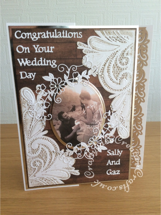 Boho style Wedding card made using various dies including; Spellbinders nesting ovals dies, Tattered Lace Sentiiments 2014 dies,Tattered Lace Blossom Over the Edge die set D1371 and Crafter's Companion 3D Embossing Folder - Ornate Lace inked with disttress ink before embossing.- craftybabscreativecrafts.co.uk