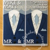Mr & Mr Gay Wedding Card made using various dies including; Tattered lace sentiments 2014 dies, Spellbinders Sapphire Die Numbers And Letters One, Xcut A5 Suit Card Die Set and Tattered lace Notched Rectangles (ETL310) dies.- craftybabscreativecrafts.co.uk