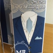Mr & Mr Gay Wedding Card made using various dies including; Tattered lace sentiments 2014 dies, Spellbinders Sapphire Die Numbers And Letters One, Xcut A5 Suit Card Die Set and Tattered lace Notched Rectangles (ETL310) dies - craftybabscreativecrafts.co.uk