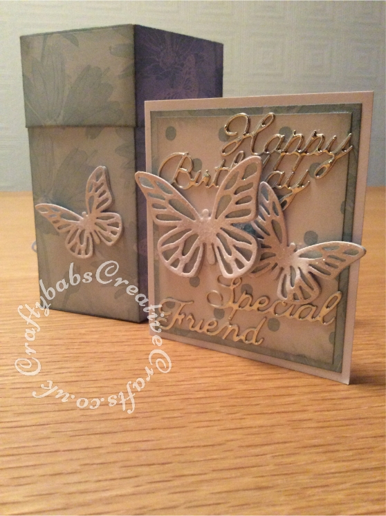Card In a box made with various dies including; Sizzix Framelits Die Set 5PK w/Stamps - Butterflies #4, John Next Door Opera Box Die set.Britannia sentiments dies. Card, matsand layers cut using a guillotine - craftybabscreativecrafts.co.uk