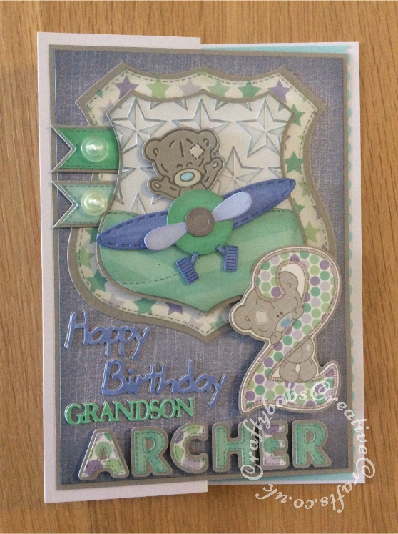 """2nd Birthday Card for a little boy, made using Trimcraft's Tiny Tatty Teddy 3d dies and matching 12""""x12"""" papers. Also using Marianne sentiment dies, Sue Wilson sentiment dies and Sizzix sizzlits Fruit Smoothie alphabet dies - craftybabscreativecrafts.co.uk"""