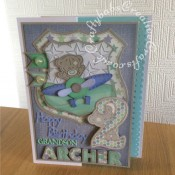 "2nd Birthday Card for a little boy, made using Trimcraft's Tiny Tatty Teddy 3d dies and matching 12""x12"" papers. Also using Marianne sentiment dies, Sue Wilson sentiment dies and Sizzix sizzlits Fruit Smoothie alphabet dies - craftybabscreativecrafts.co.uk"