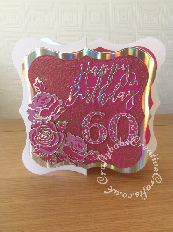 """Large 8"""" x 8"""" 60th Birthday card made using shaped card blank, Jus-Cutz A4 nesting dies, Card Making Magic Die Set Solid Number & Suffix by Christina Griffiths, Card Making Magic Dies Overlay Number & Suffix Everyday Edition Filigree Pattern Christina Griffiths, Card Making Magic Die Set Happy Birthday Sentiment 