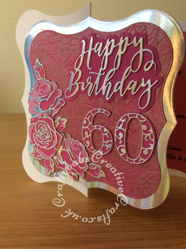"Large 8"" x 8"" 60th Birthday card made using shaped card blank, Jus-Cutz A4 nesting dies, Card Making Magic Die Set Solid Number & Suffix by Christina Griffiths, Card Making Magic Dies Overlay Number & Suffix Everyday Edition Filigree Pattern Christina Griffiths, Card Making Magic Die Set Happy Birthday Sentiment 