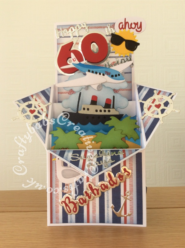 Pop Up Box 60th Birthday Card, Cruise themed, made using various dies including; Sizzix Originals Shadowbox numbers dies, 661229 - Sizzix Thinlits Die Set 7PK - Nautical by My Life Handmade, Xcut Build-A-Scene Dies, Nautical, Xcut Build a Scene Dies All Aboard, Sizzix Thinlits Die Set 15pk-Rainy Days and Sunshine by My Life Handmade, Sentiment dies free with issue 109 of Papercrafter magazine, Crafters companion Gemini Expressions Metal Die - Uppercase and lower case Alphabet Sets. - craftybabscreativecrafts.co.uk