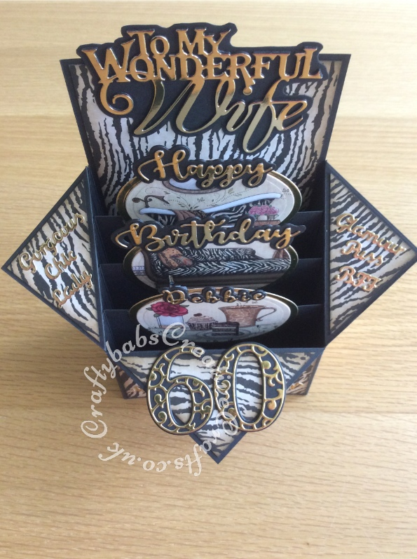 Large Pop Up Box 60th Birthday card, animal print themed, made using Kanban Safari Boutique patterned card & toppers and various dies including; i-Craft sentiment dies Happy Birthday, Card Making Magic Die Set Solid Number & Suffix by Christina Griffiths, Card Making Magic Dies Overlay Number & Suffix Everyday Edition Filigree Pattern Christina Griffiths, Tonic studios die Partner Sentiments text, Tattered-Lace-FASHION-SENTIMENTS-Die-Set-D722, Spellbinders Classic Ovals nesting dies and Crafters companion Gemini Expressions Metal Die - Uppercase and lower case Alphabet Sets. - craftybabscreativecrafts.co.uk