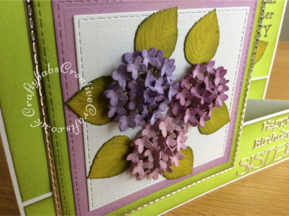 Double 'Z' fold Hydrangea Birthday card made using a variety of dies including; Crealies Nest-Lies XXL Die Set No 34 Double Stitch Squares dies, Tattered Lace sentiments from 2014 set and Tattered Lace 'THE WORLD'S BEST' Die Set - ETL244, and Spellbinders Shapeabilities Die D-Lites-Hydrangea die set. - craftybabscreativecrafts.co.uk