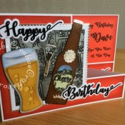 Double 'Z' fold Beer themed birthday card made with a variety of tools including; Apple Blossom Embossing folder free with issue 161 of Simply Cards & Papercraft, Bottle label stamp free with issue 166 of Simply cards & Papercraft, iCraft Happy Birthday and cheers sentiment dies, Apple Blossom Die Set Beer Bottle & Glass | Drink Trolley die set, Apple Blossom Die Set Soda Bottle & Cola Glass Drink Trolley and Crealies Nest-Lies XXL Die Set No 34 Double Stitch Squares dies - craftybabscreativecrafts.co.uk