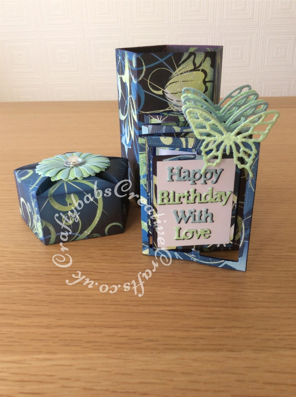 Card In a box made with various dies including; Sizzix Thinlits Die Set 8PK-Butterflies, Intricate, John Next Door Opera Box Die set. Tattered Lace Rectangle Accordion dies and sentiments dies and Sizzix Originals Shadowbox Alphabet dies - craftybabscreativecrafts.co.uk