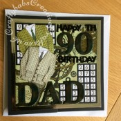 "Large 8"" x 8"" 90th birthday card made for a Sudoku fan using a variety of dies including; Cheery Lynn Designs - Lattice 1 Die - FRM114 for Sudoku grid, Marianne Design Collectables Men's Wardrobe Die, Card Making Magic Die Sets Solid Alphabet and Numbers dies, Tattered Lace Happy Birthday (ETL128) die, and Tattered Lace Bunting 2018 (& Alphabet / Numbers) Craft Cutting Die Set 442670 for Sudoku numbers. Background stamped with various maps, cogs etc stamps and inked and coloured with distress inks. Large letters, numbers and sentiments triple embossed and mica powders added between layers. - craftybabscreativecrafts.co.uk"