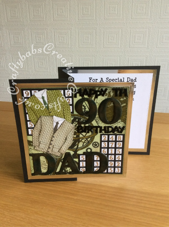 """Large 8"""" x 8"""" 90th birthday card made for a Sudoku fan using a variety of dies including; Cheery Lynn Designs - Lattice 1 Die - FRM114 for Sudoku grid, Marianne Design Collectables Men's Wardrobe Die, Card Making Magic Die Sets Solid Alphabet and Numbers dies, Tattered Lace Happy Birthday (ETL128) die, and Tattered Lace Bunting 2018 (& Alphabet / Numbers) Craft Cutting Die Set 442670 for Sudoku numbers. Background stamped with various maps, cogs etc stamps and inked and coloured with distress inks. Large letters, numbers and sentiments triple embossed and mica powders added between layers. - craftybabscreativecrafts.co.uk"""