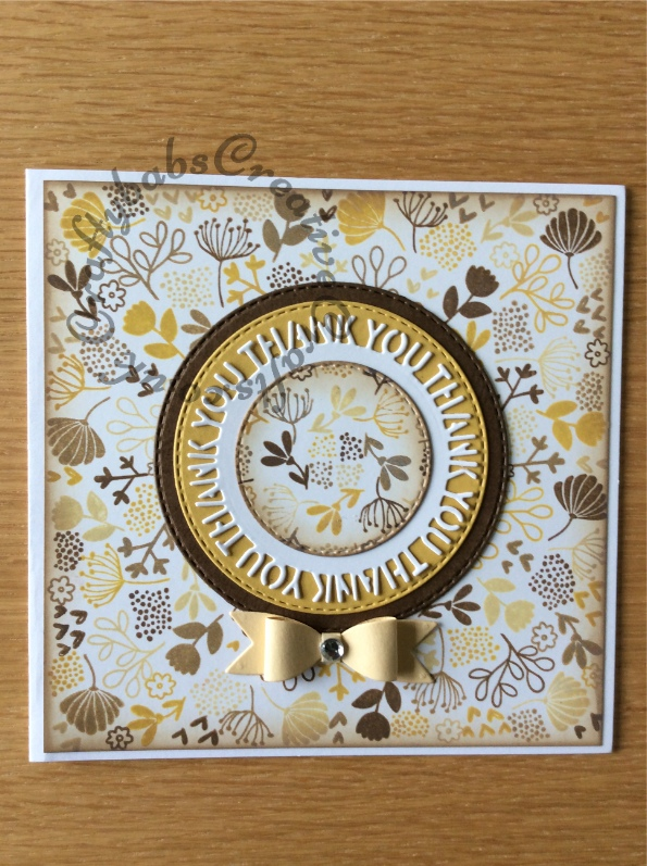 Thank You Card made using Concord & 9th Lovely Blossoms Turnabout stamp with distress oxide inks and a number of dies including; Crealies Nest-Lies Double Stitch Circles Nesting Die Set Crea-Nest-Lies XXL 33, Sue Wilson Perspectives Thank You Circle Die Set and an unbranded small bow making die set. - craftybabscreativecrafts.co.uk