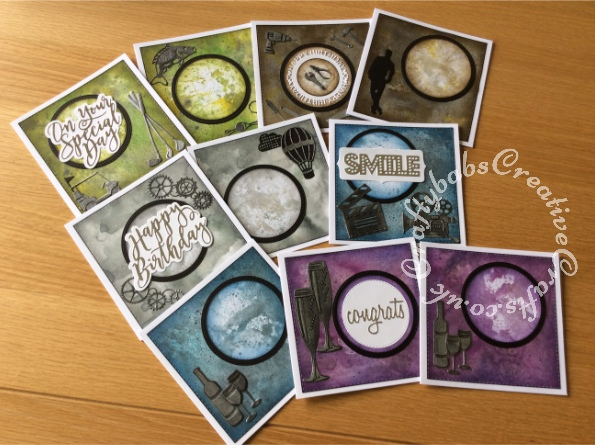 Selection of male orientated cards for various occasions made with inked and mica sprayed background using various dies including Crealies Nest-Lies Double Stitch Circles Nesting Die Set Crea-Nest-Lies XXL 33, Crealies DOUBLE STITCH Die Set No.34 SQUARES dies, and various other embellishments dies. - craftybabscreativecrafts.co.uk