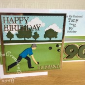 90th Birthday Bowling themed Double'Z' card made using various dies including Sizzix Originals Shadow Box Numbers dies, Tattered Lace sentiment dies from the Tattered Lace 3Diemensions Dies - Toolbox set, Joanna Sheen Signature Dies - Lawn Bowls - Male SD326, X Cut Build a Scene. 20 die ALL ABOARD Collection, X Cut A5 Die Set English Countryside Borders, Sizzix Girls Are Weird Alphabet Punctuation Number & Shadow Sizzlits and Crealies Nest-Lies XXL Die Set No 34 Double Stitch Squares. - craftybabscreativecrafts.co.uk